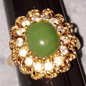 Green Vintage Gemstone and Crystal Ring